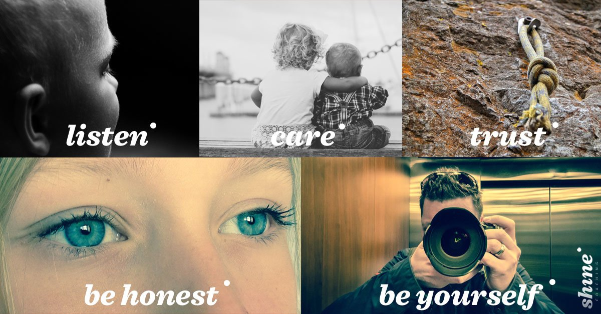 Combo of images that represent 5 key leadership skills: listening, taking care, trust, being honest and being oneself
