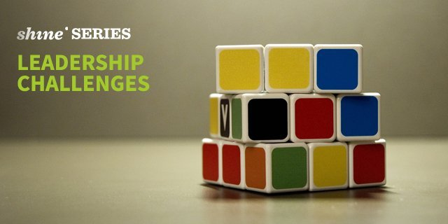Header for blog series of Shine Coaching on typical leadership challenges showing a rubic cube